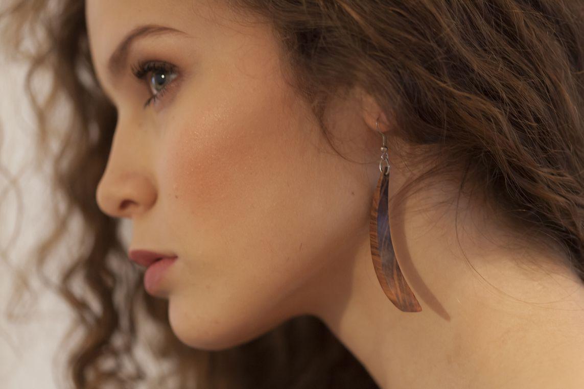 unique handmade wooden jewellery earrings