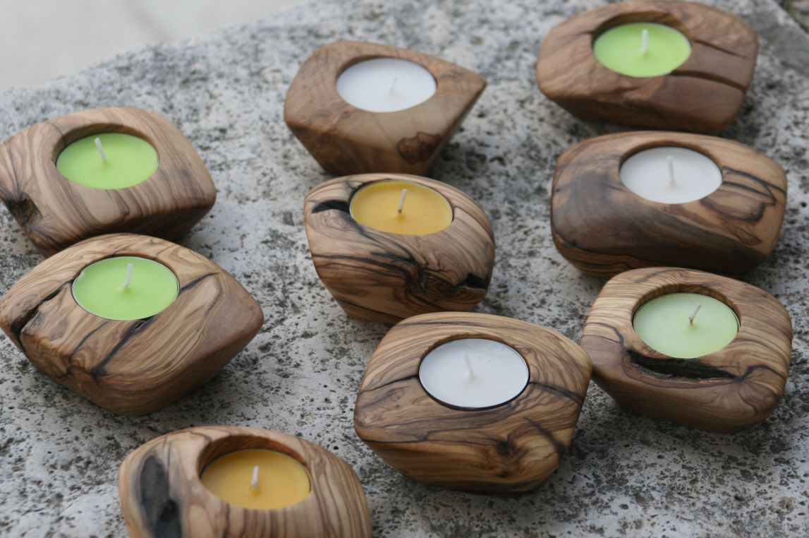 Olive wood candle holders
