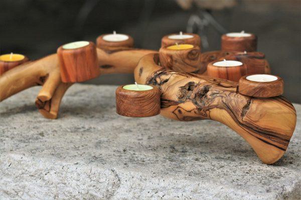 olive wood handmade unique candle holder olive branch