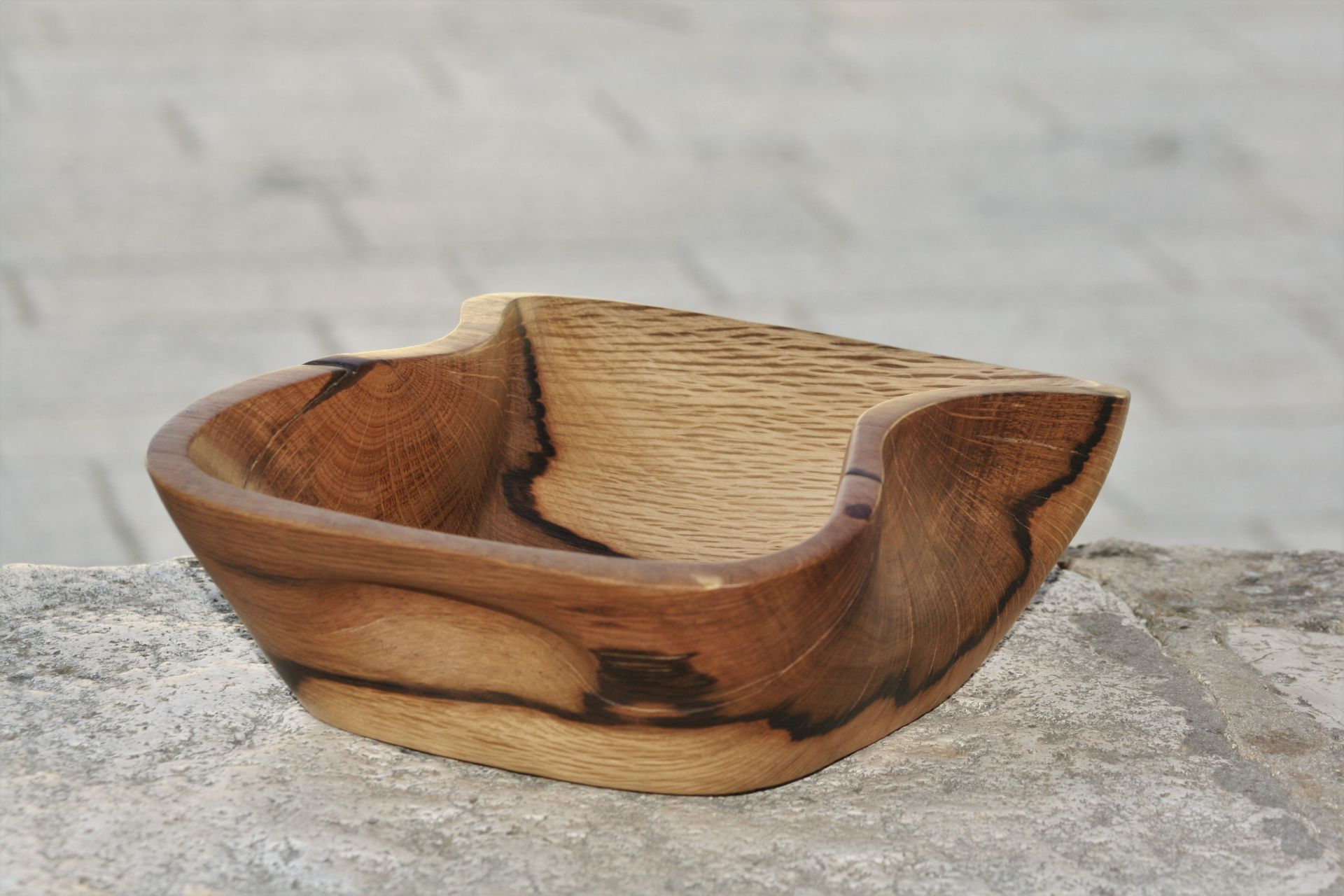 holm oak wood unique handmade bowl sanisio design