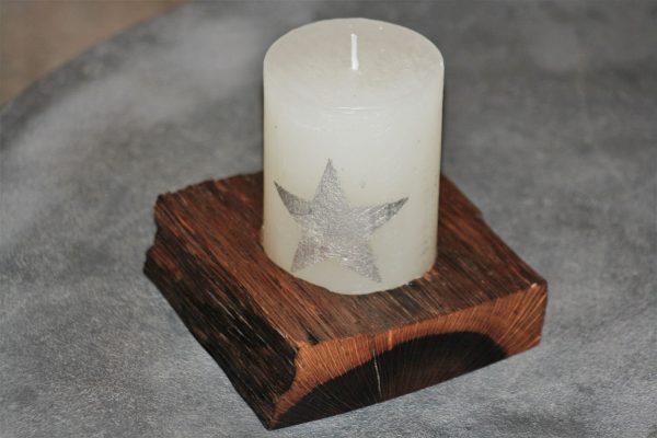 holm oak wood unique handmade candle holder sanisio design