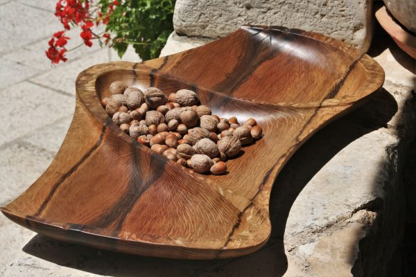 holm oak wood unique handmade bowl size XXL sanisio design