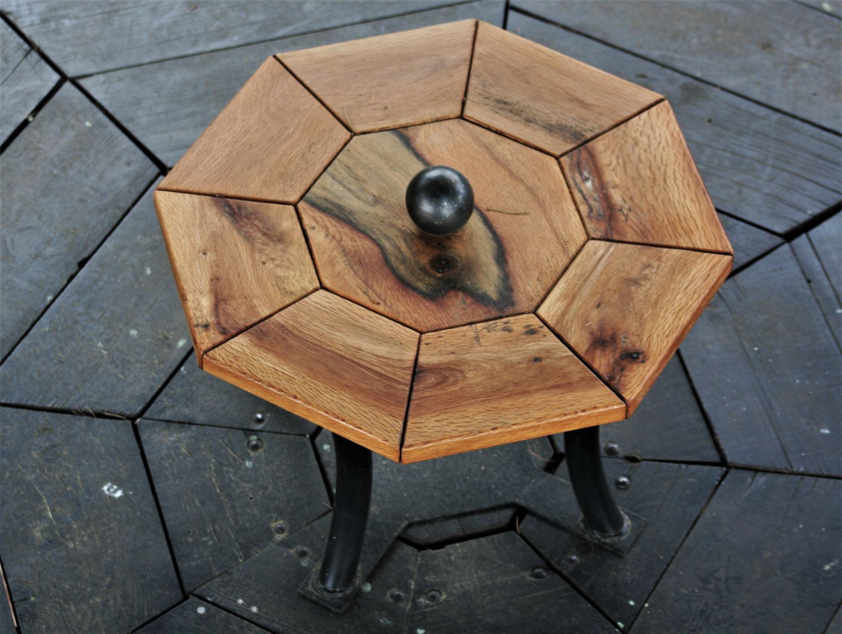 holm oak wood unique handmade stool sanisio design Brijuni national park Istria