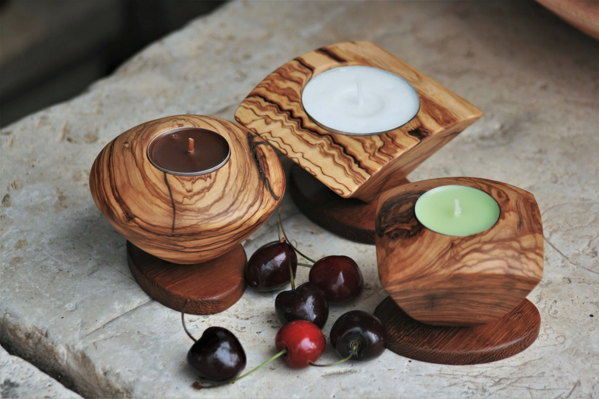 wooden home details candle holders olive wood & iroko