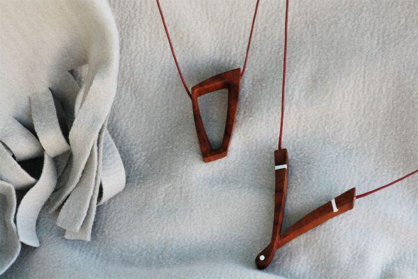 cherry plum wood jewellery necklace pendant unique handmade sanisio design