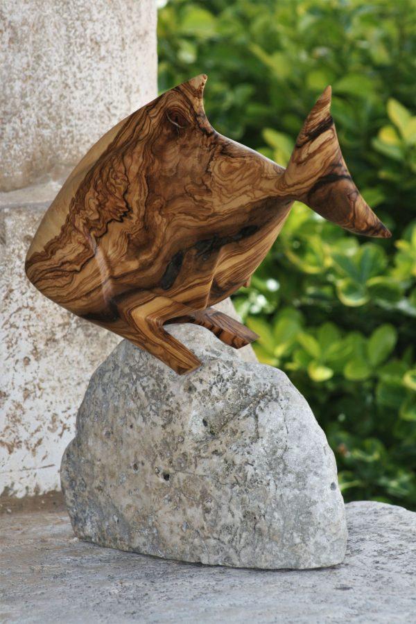 wood sculptures art olive wood sea stone handmade unique artist design Fish