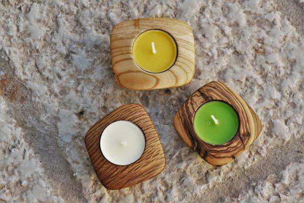 wooden home details candle holders olive wood & holm oak & apricot