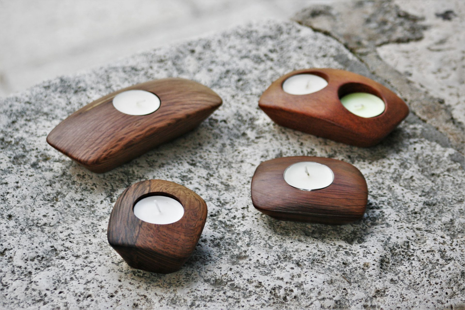 wooden home details candleholders holm oak iroko