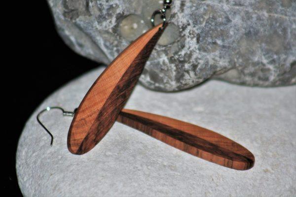 wooden earrings sanisio holm oak apricot unique