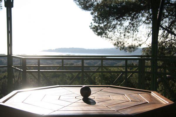 public areas Brijuni national park Belvedere wooden bench holm oak wood sea view