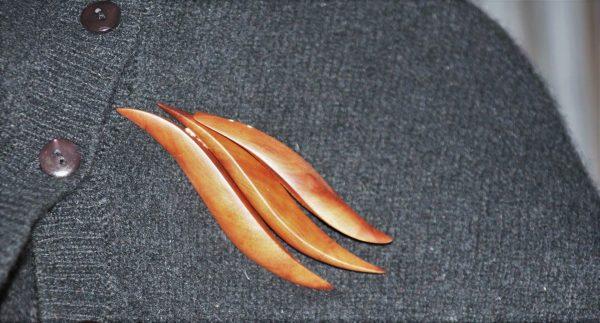 cherry plum wood jewellery brooch Marina unique handmade sanisio design