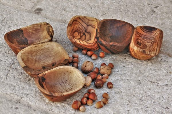 wooden bowls Mediterranean holm oak olive wood combination handmade unique artist design 3 in 1 nut bowl