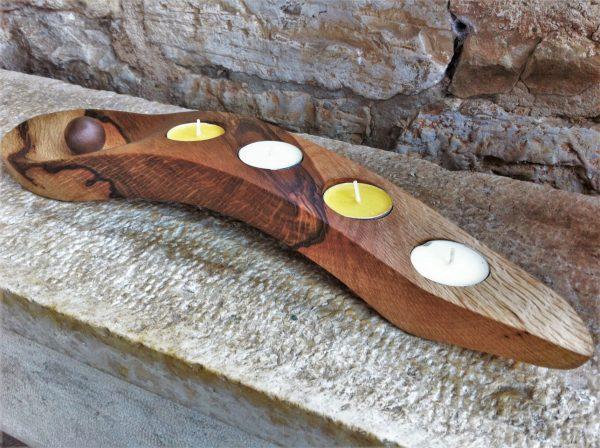 wooden home details holm oak wood candle holder advent