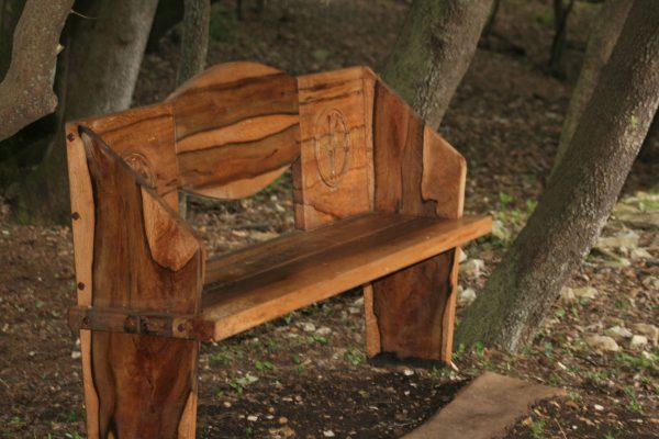public areas Brijuni national park wooden bench holm oak wood basilica Istria Kastrum