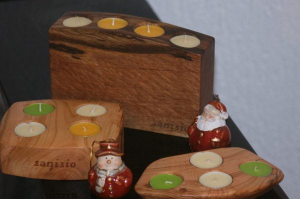 sacral wooden design sanisio unique candle holder Advent black holm oak apricot olive wood