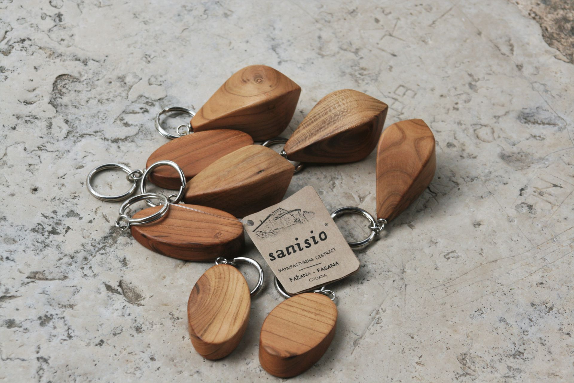 apricot wood key rings car keys unique handmade sanisio artist design