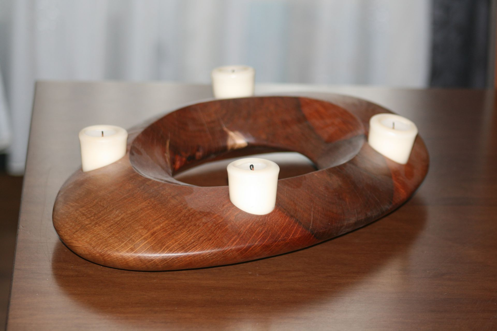 sacral wooden design handmade sanisio unique candle holder Advent black holm oak oval
