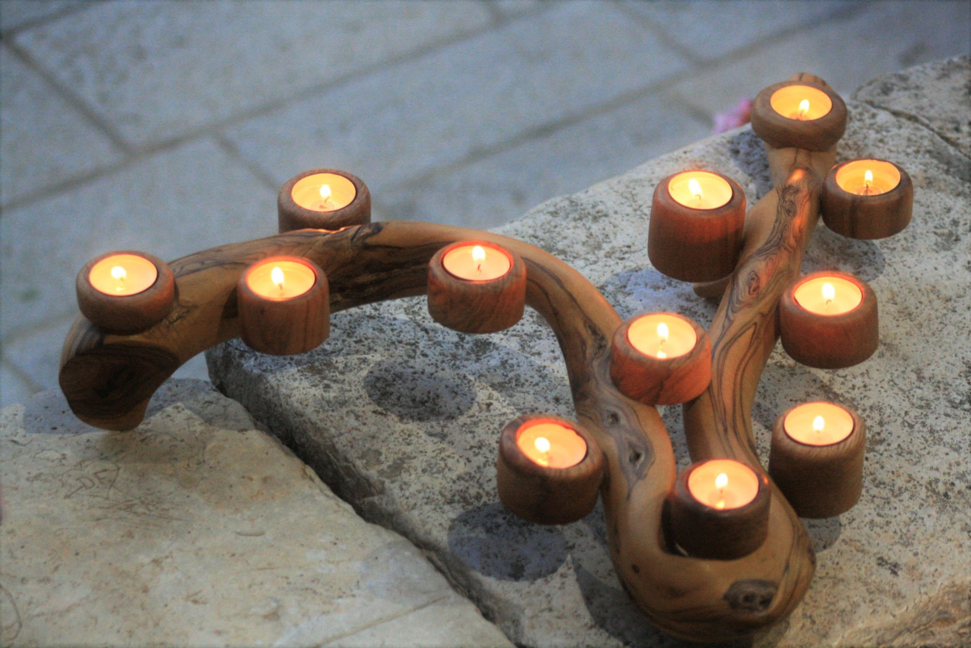wooden home details olive wood branch candle holders