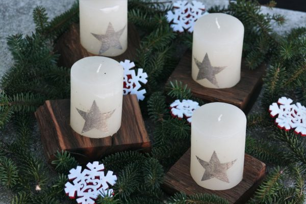 sacral wooden design sanisio Advent candle holder 4 parts XL black holm oak