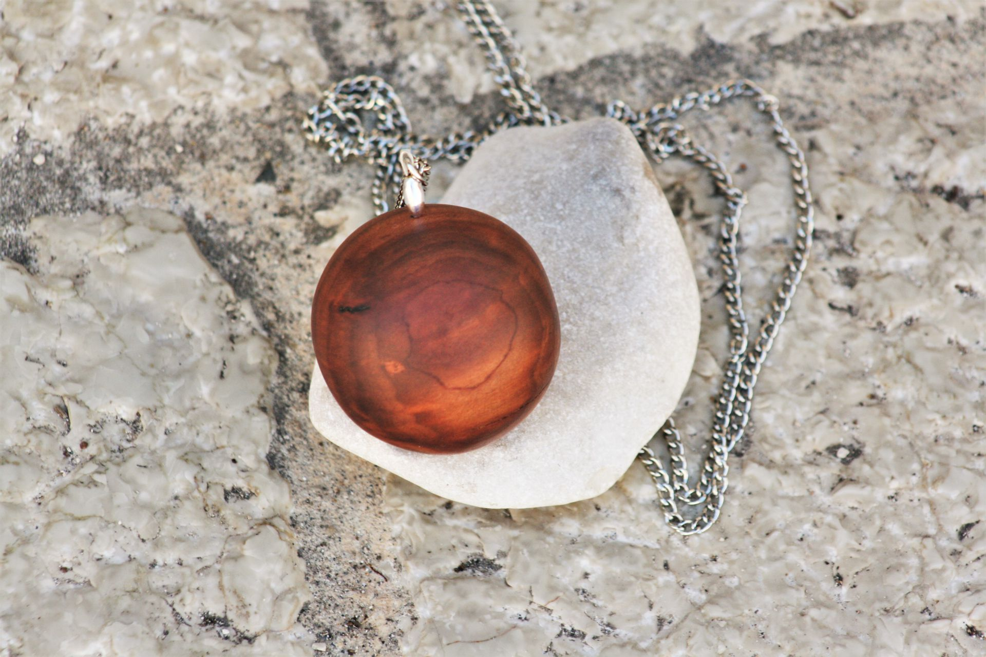 cherry plum wood jewellery necklace pendant Globe unique handmade sanisio design