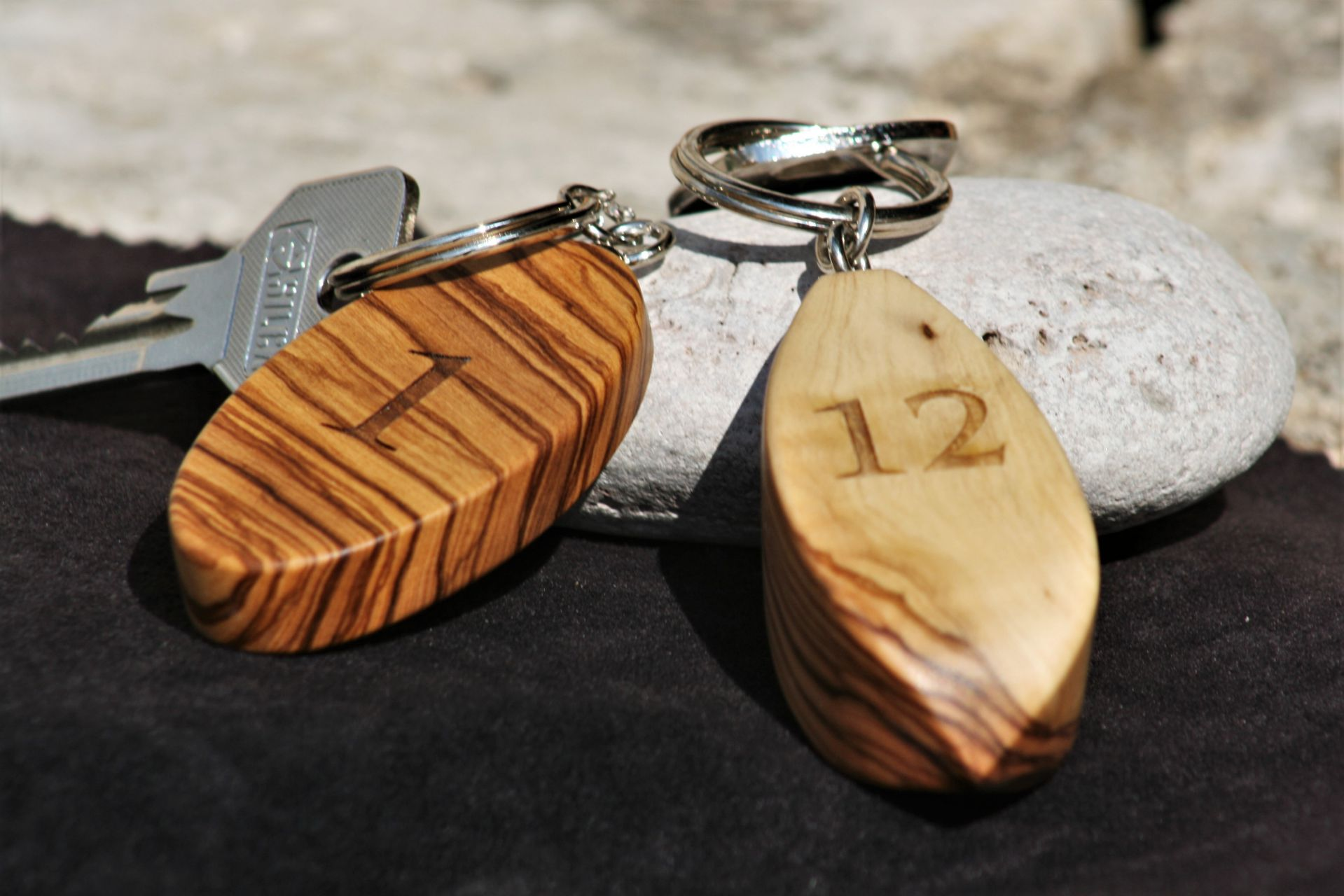 wooden home details olive wood key ring size S & M engraved