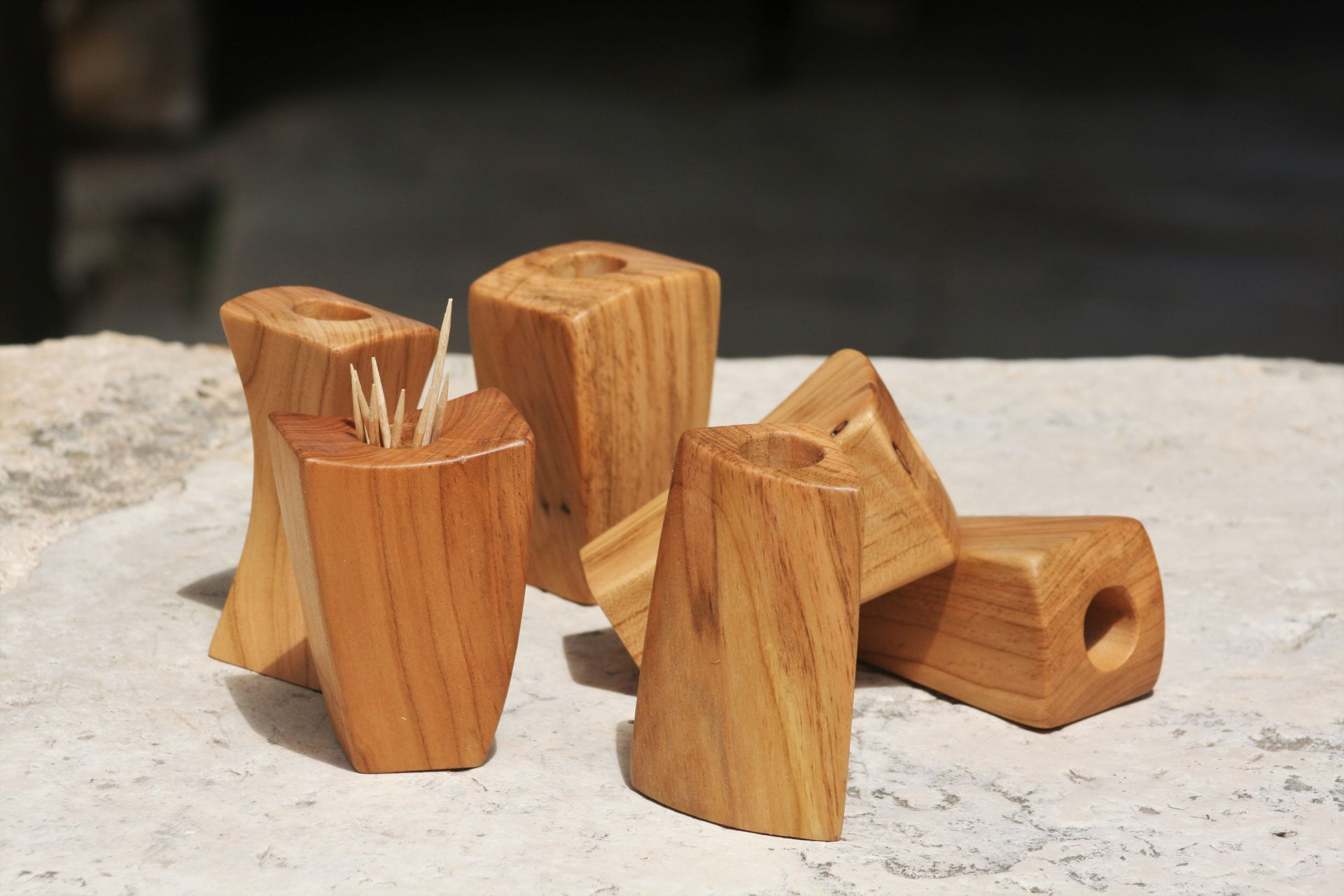apricot wood toothpick flower holders unique handmade sanisio artist design home detail