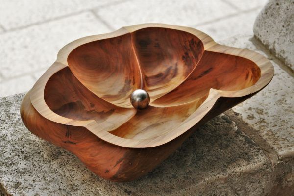 wooden bowls apricot handmade unique artist design fruit bowl extra large size