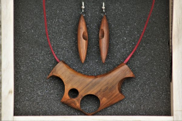unique wooden jewellery holm oak set necklace