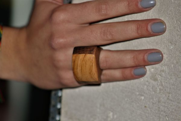 apricot wood jewellery ring Mediterranean black holm oak unique handmade sanisio artist design jewelry