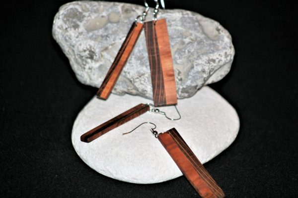 wooden earrings sanisio holm oak cherry plum