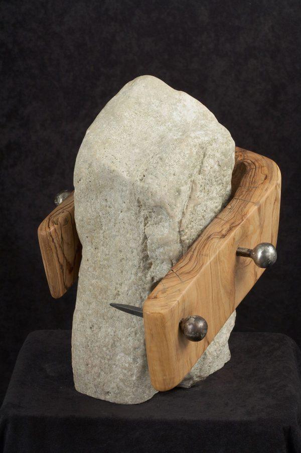 wood sculptures art stone wood metal handmade unique artist design Inheritance