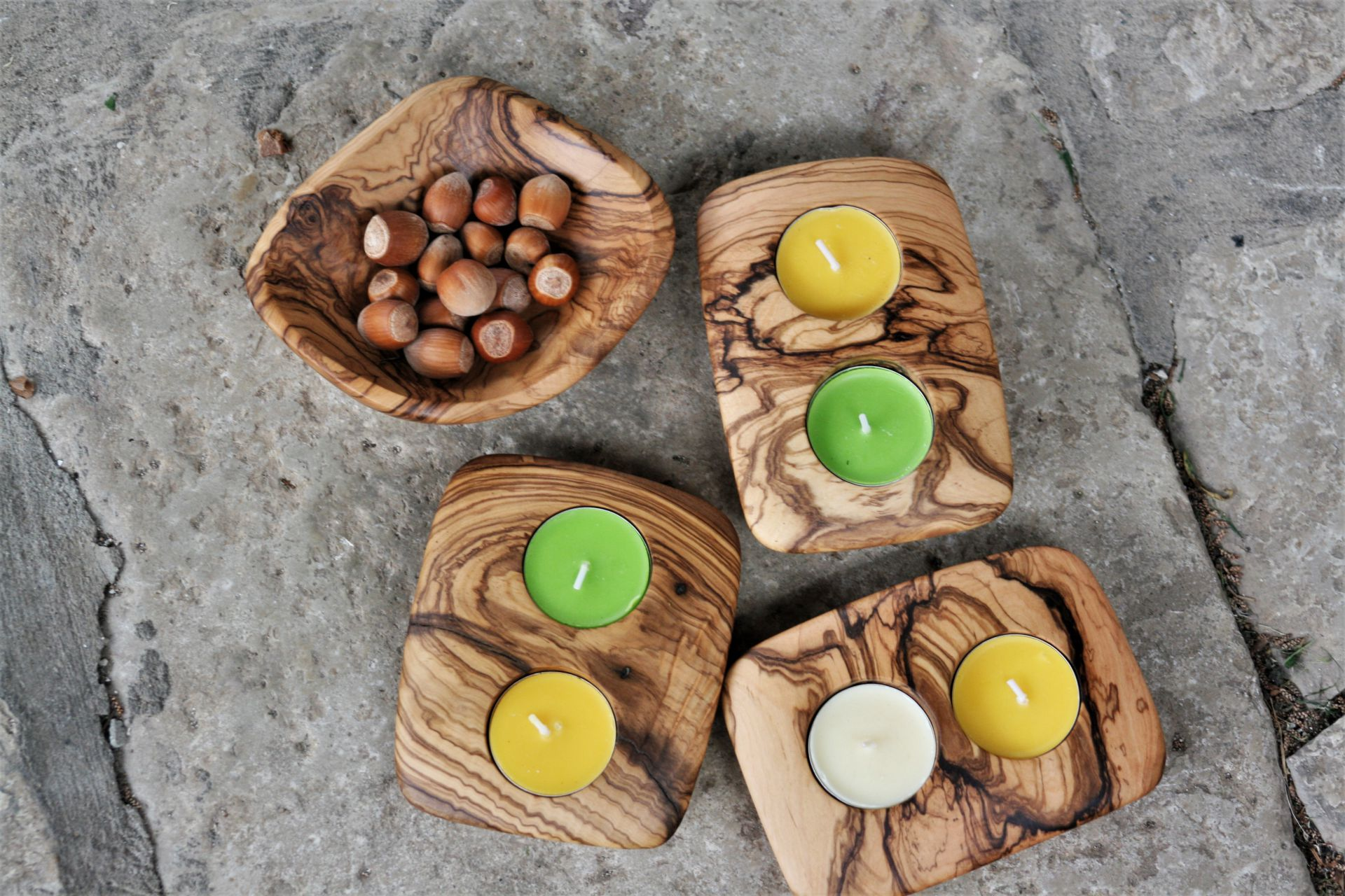 wooden home details olive wood double candle holders